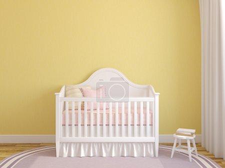 Interior of nursery with crib