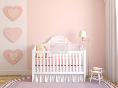 Photo for Colorful interior of nursery. Frontal view. 3d render. - Royalty Free Image