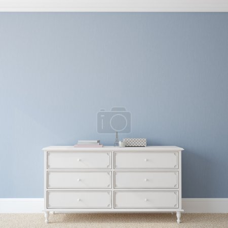 Photo for Interior with dresser near empty blue wall. 3d render. - Royalty Free Image