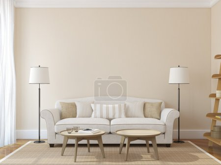 Photo for Modern living-room interior with white couch near empty beige wall. 3d render. Photo on book cover was made by me. - Royalty Free Image