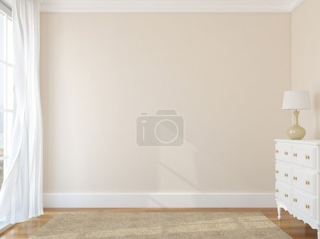 Photo for Interior of empty room. 3d render. Photo behind the window was made by me. - Royalty Free Image