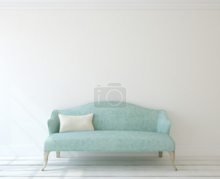 Photo for Interior with modern blue couch near white wall. 3d render. - Royalty Free Image