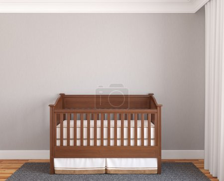 Interior of nursery with wooden crib