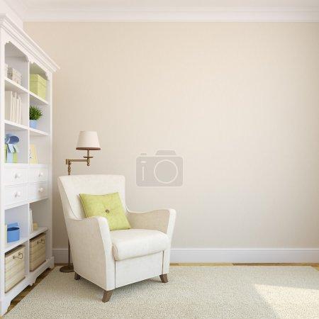 Photo pour Intérieur moderne avec bibliothèque et fauteuil près de mur vide beige.3d render . - image libre de droit
