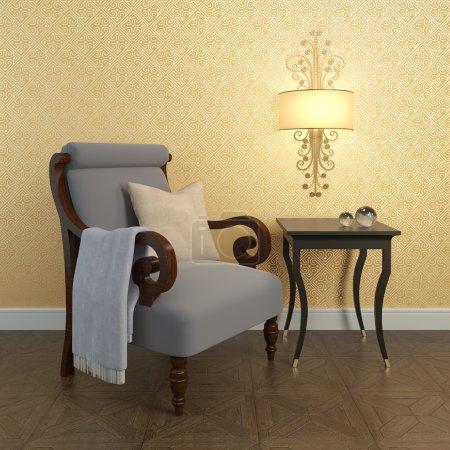 Armchair near the wall.