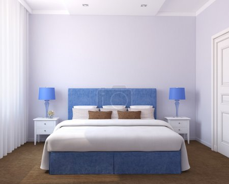 Photo for Beautiful bedroom interior. 3d render. Photos on the wall was made by me. - Royalty Free Image