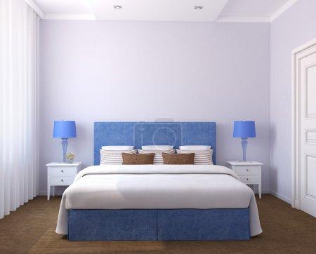 Photo pour Bel intérieur de chambre. 3d rendu. Photos sur le mur a été faite par moi . - image libre de droit