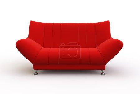 Photo pour Canapé rouge moderne isolé sur fond blanc . - image libre de droit