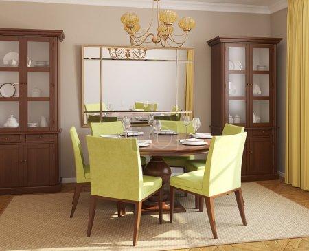 Photo pour Intérieur de salle à manger avec table ronde et six chaises verts. rendu 3D. - image libre de droit
