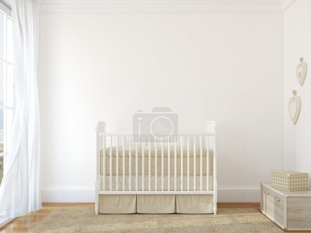 Interior of nursery with vintage crib
