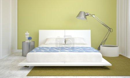 Photo pour Intérieur de chambre moderne avec murs verts et lit king-size. 3d rendu . - image libre de droit