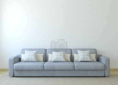 Photo for Modern living-room interior with gray couch near empty white wall. 3d render. - Royalty Free Image