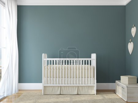 Interior of nursery with vintage crib.
