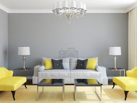 Photo for Modern living-room interior.3d render. - Royalty Free Image