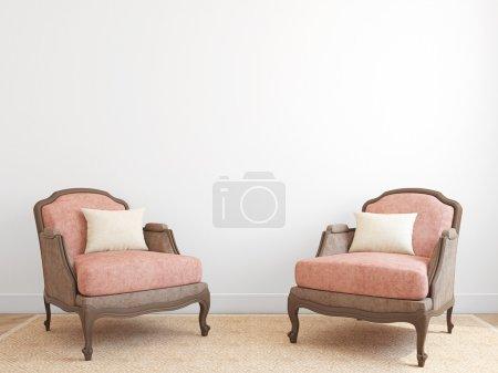 Photo pour Intérieur avec deux fauteuils. rendu 3D. - image libre de droit