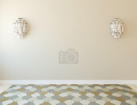 Photo pour Intérieur. Chambre vide avec deux appliques. 3d rendu . - image libre de droit