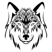 Beautiful wolf tattooVector wolf's head as a design element on isolated background