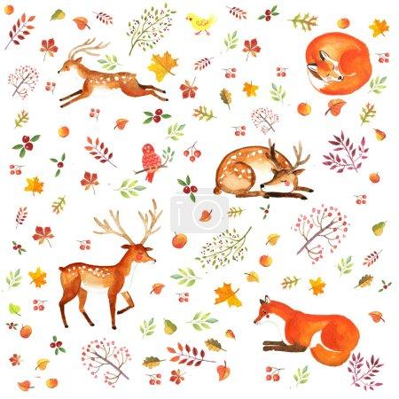 Photo pour Image aquarelle cerf et renard dans un cercle de feuilles - image libre de droit