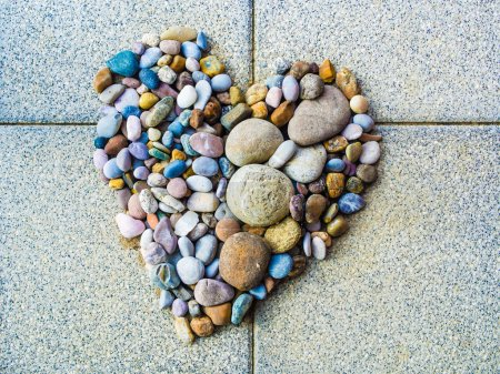 Photo for Heart made of pebbles, symbol and illustration of love romance relationship tolerance diversity religion faith hope zen relaxation mineral spa, homemade diy decoration - Royalty Free Image