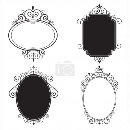 Illustration for Set of decorative black and white vintage swirl frames. Design elements - Royalty Free Image