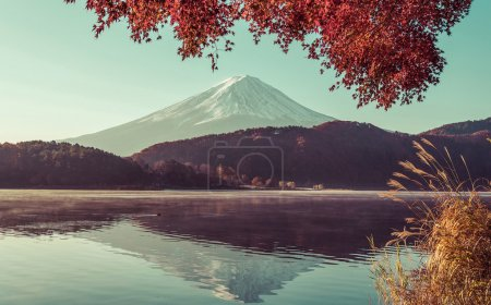 red frame of maple leaf and mt.Fuji,vintag