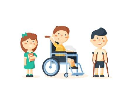 Illustration pour Enfants ayant des besoins spéciaux avec des amis, des amis et des enfants handicapés. Illustration vectorielle - image libre de droit