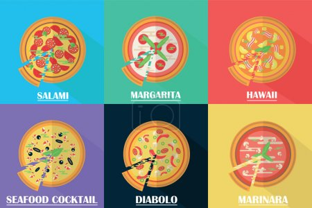 Vector pizza set