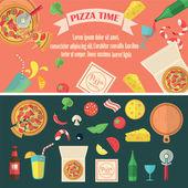 Vector pizza set