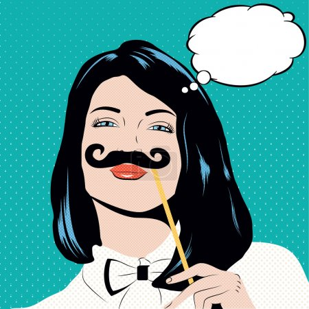 Illustration for Pop art illustration with girl holding mustache. Woman with black hair and blue eyes in pin up style.Thinking woman in comic style with speech bubble for your text - Royalty Free Image