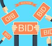 Auction and bidding banner with hands holding bords flat isolated vector illustration Bid sign in hand of people