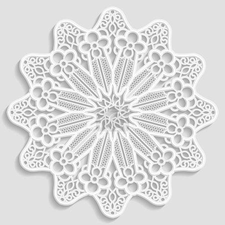 Lacy paper doily, decorative flower, decorative snowflake, mandala, embossed pattern