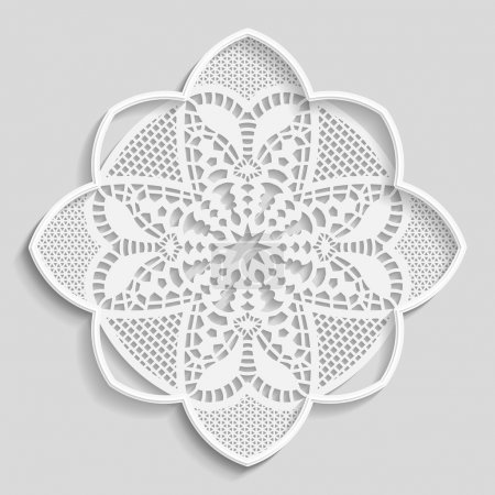 Lacy paper doily, decorative flower, decorative snowflake, mandala, embossed pattern,