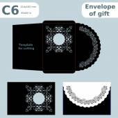 C6 openwork paper converter for romantic messagestemplate  for cutting lace pattern envelope greetings laser cutting template  presents packing vector illustrations