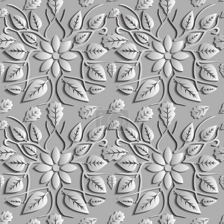 Illustration for Seamless abstract illustration of nature. Figure 3D, leaves, flowers, branches. Color silver. Vector. Suitable for creating wallpaper. Figure repeated indefinitely. - Royalty Free Image