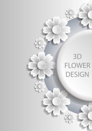 Illustration pour 3D Design abstrait de couverture florale avec des ombres. Vecteur EPS10 . - image libre de droit