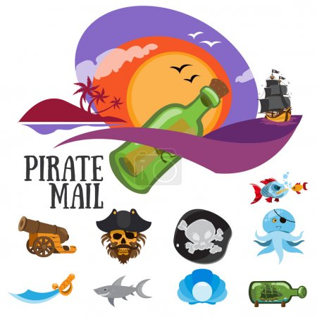 Set of colorful patterns pirate mail, adventure an...