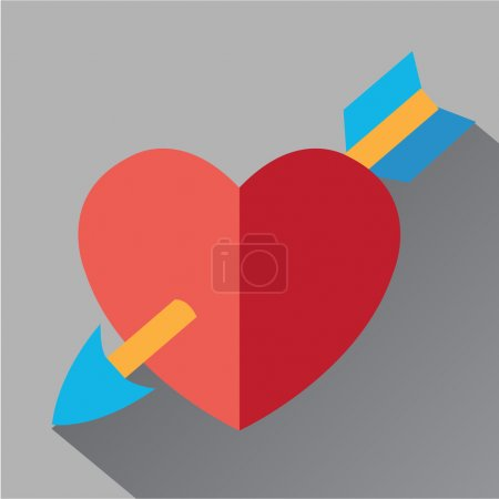 Heart pierced by an arrow icon flat. Modern colored icons in a flat design with long shadow.