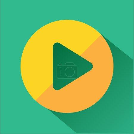Photo pour Jouez icône de bouton. icônes de couleur moderne dans un design plat avec une ombre longue . - image libre de droit