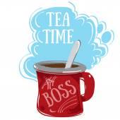 Čas na čaj, červený hrnek
