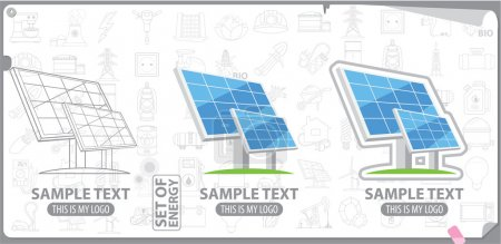 Solar panel, solar battery logo, energy, energetics