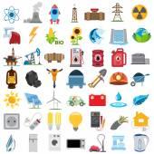 Energetics icons, vector energetics icons set