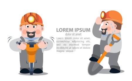 Photo pour Mineurs avec un marteau-piqueur et une pelle, infographies - image libre de droit