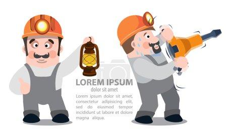 Photo pour Mineurs avec un marteau-piqueur et une lampe au kérosène, infographies - image libre de droit