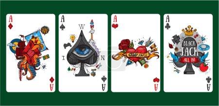 Photo pour Images colorées de cartes à jouer quatre as . - image libre de droit