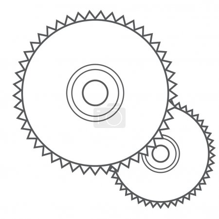 Saw disc, a circular saw outline drawing.