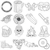 Forestry set of icons and logos contour drawing