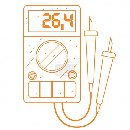 Digital multimeter icon outline drawing.