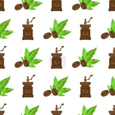 Illustration pour Modèle sans couture avec des illustrations sur le thème du café. Moulin à café vintage et grains de café . - image libre de droit