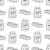 Seamless pattern with outline drawings on the theme of coffee Donuts and jar of coffee