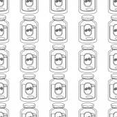 Seamless pattern with outline drawings on the theme of coffee Jar of coffee
